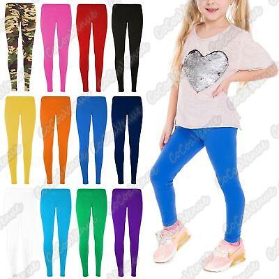 Girls Plain Leggings Full Length Kids Teen Children School Dance Basic Color Stretchy Elasticated Waist