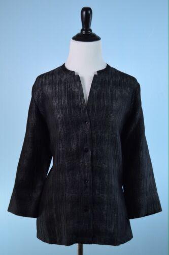 en soie noir 498 manches Veste à légère Eileen Fisher longues COqx7wqtF