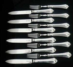 12-Silver-Dessert-Knives-amp-Forks-Sheffield-1903-Atkin-Brothers