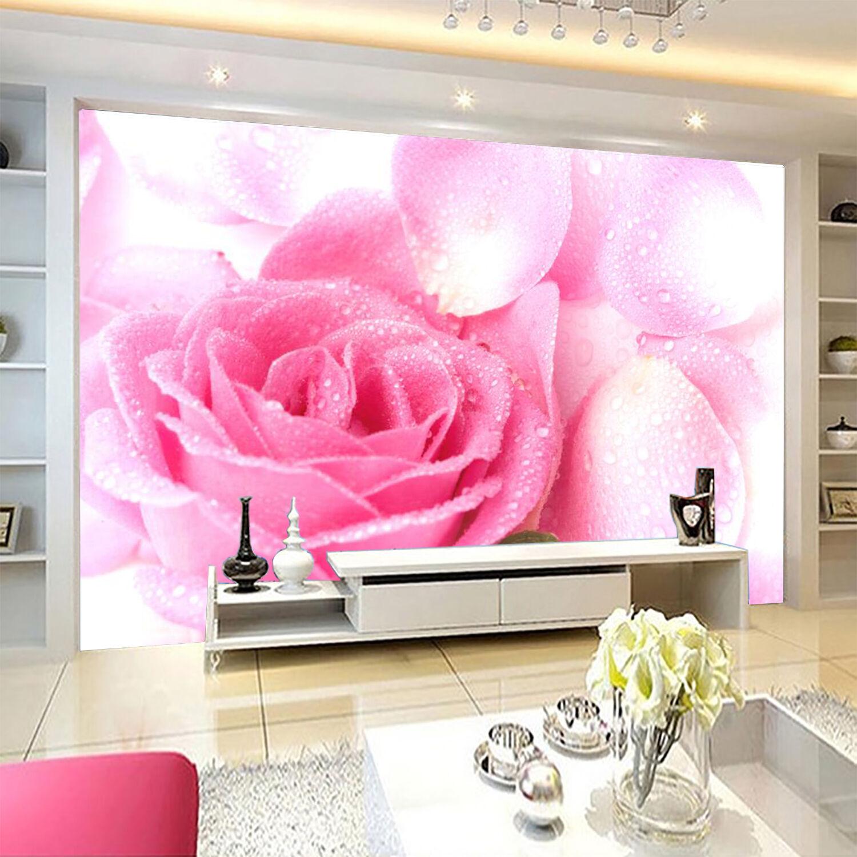3D Flowers Dewdrops 329 Wallpaper Decal Dercor Home Kids Nursery Mural Home