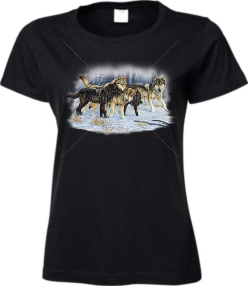 //Nature Motif Modèle Wolfpack Snow T Shirt en Noir Avec Un Loup Animal
