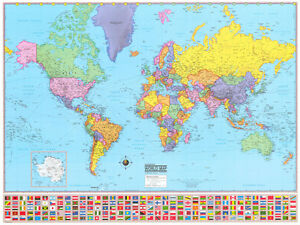 36x48 hammond world wall map large mural poster new ebay image is loading 36x48 hammond world wall map large mural poster gumiabroncs Image collections