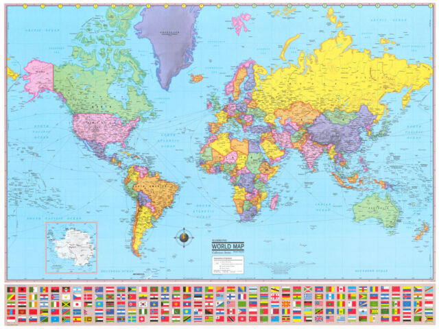 """ATLAS COUNTRY FLAGS LAMINATED MAP OF THE WORLD POSTER 36""""X24"""" OR A1"""
