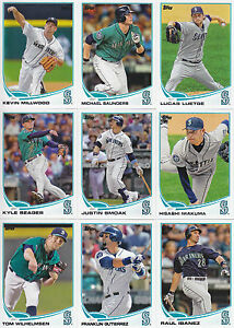 2013-Topps-Seattle-Mariners-Complete-Series-1-amp-2-Team-Set-17-Different-Cards