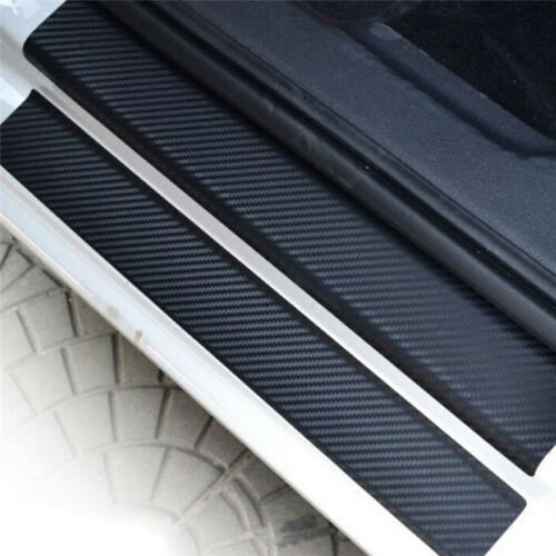 4x 3D Carbon Fiber Look Car Door Plate Sill Scuff Cover Sticker Anti Scratch LY