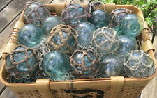 """Japanese Glass Fishing FLOATS 3"""" Mixed Lot 16 Netted + Un-Netted Nautical Decor"""