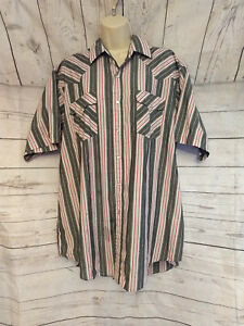 VTG-Plains-Western-Wear-Mens-XL-Pearl-Snap-Short-Sleeve-Shirt-Gray-Striped