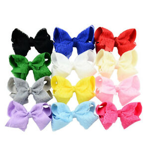 12pcs-Hair-Clip-Grosgrain-Ribbon-Lace-Flower-Bow-Hairpin-Baby-Girl-Accessories
