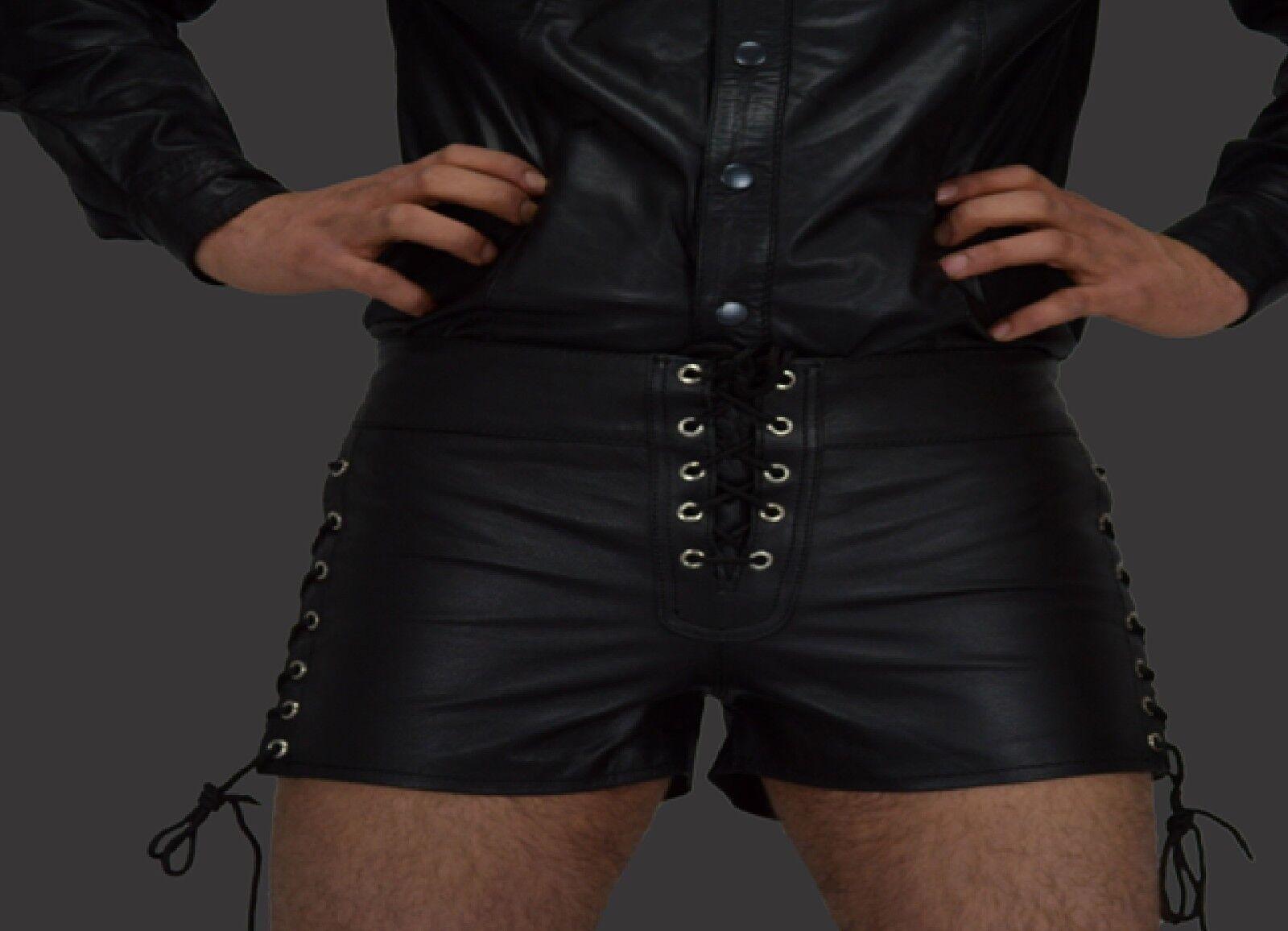 Unisexe Shorts, Cuir Shorts pour schnürn Cuir Shorts, Unisexe Pantalon, Pantalon Cuir, Leather shorts.gr.34w 6c29e8