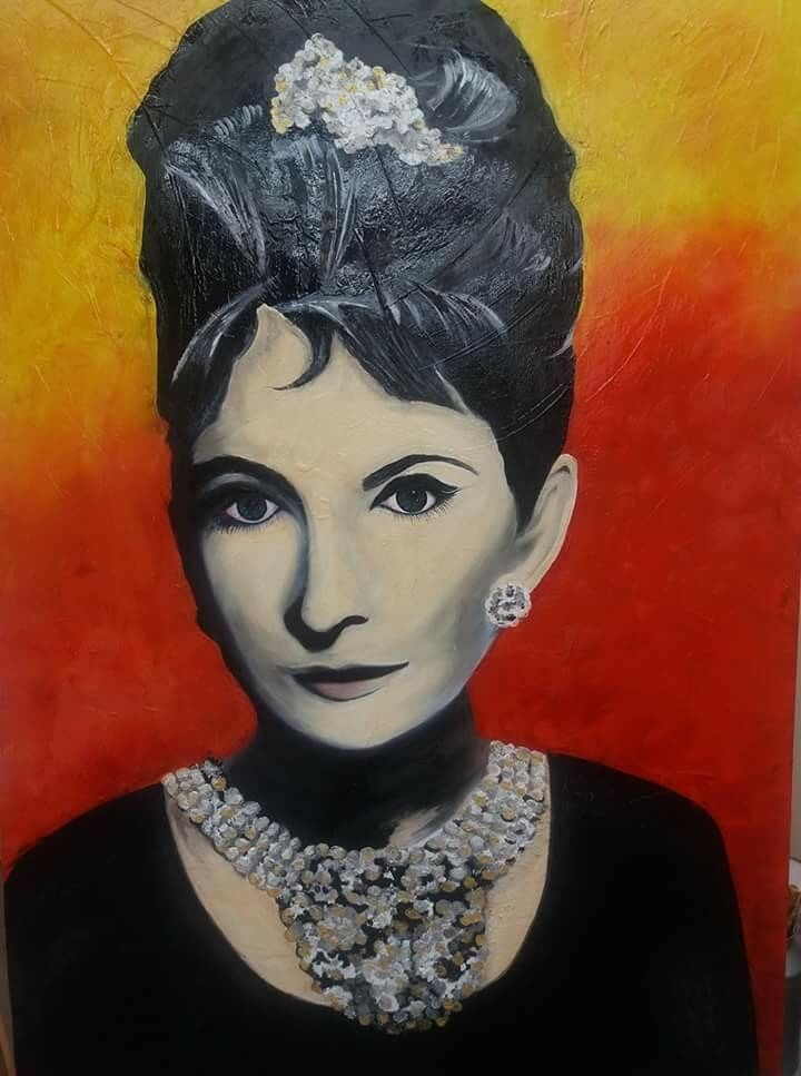 Large Origional Oil Painting of AUDREY HEPBURN,is on a box canvas.