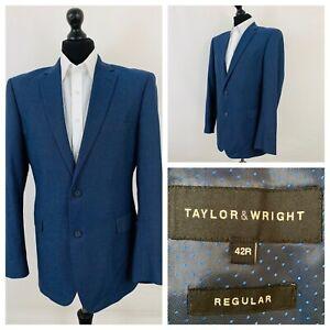 Taylor-amp-Wright-Herren-Anzug-Jacke-Blazer-Brust-42-Blau-Einzel-Knopfleiste-gr544
