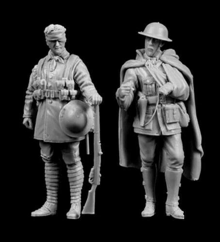 2 figures Resin figure Model kits 1//35 British injured Infantry soldiers