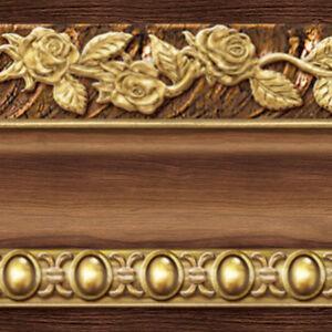 Brown gold wallpaper borders self adhesive flower moulding for Gold self adhesive wallpaper