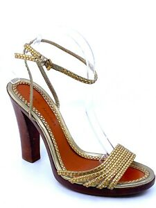 MARC-JACOBS-Braided-Metallic-Leather-Ankle-Strap-Wooden-Sole-Sandal-size-40-5