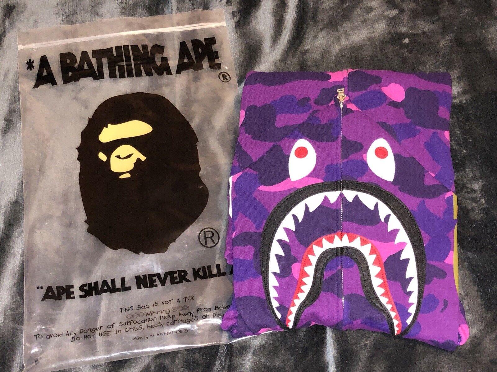 Bape viola Camo Shark Shark Shark Hoody - Medium - New   DEADSTOCK  Original Series  be7b32