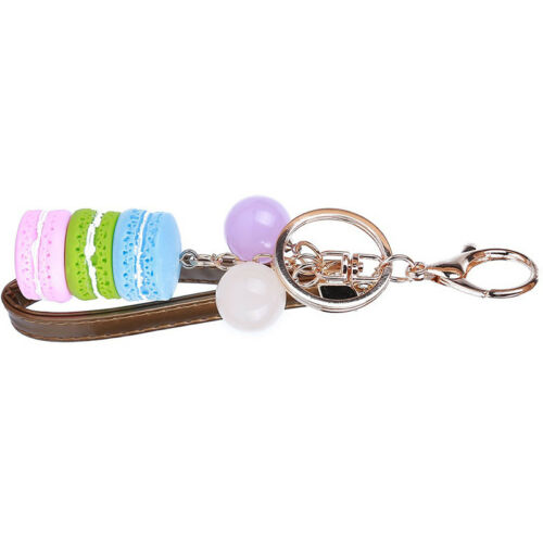 Keychain Multi-Color Macaroon Cake Dessert key Chains Handbag Decor 6A