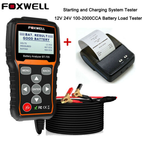 FOXWELL Car Truck 100-2000CCA Battery Load Tester 12V 24V Cranking Charging Test