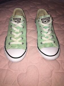 Light Green Low Top Converse Shoes