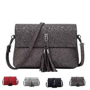 Fashion-Women-Ladies-Glitter-Shoulder-Tassels-Bag-Crossbody-Bag-Chain-Handbag