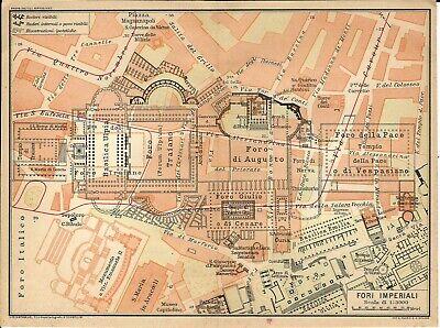 Roma Cartina Turistica Da Stampare.Roma Fori Imperiali Mappa Touring Club 1925 Carta Geografica Ebay