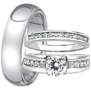 3 pc his and hers engagement wedding ring band set men39s for 3pc wedding ring set