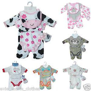 c7c2ba76bb02 NEW BABY BOYS GIRLS UNISEX 5 PIECE SLEEPSUIT SET LAYETTE NEWBORN 0-3 ...