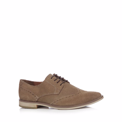 Red Herring Gris Topo Gamuza oficial para hombre Cuero Calado calidad y clase Zapatos impresionante