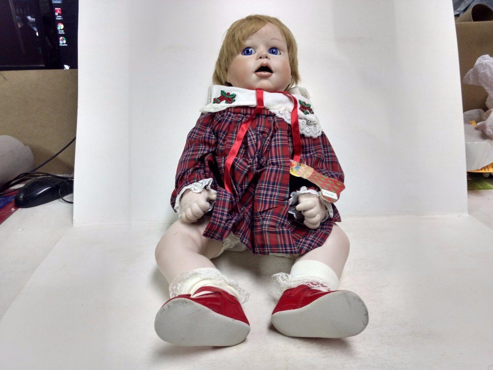 Christmas Handgefertigtes Porzellan Reproduktion Zoll Punkin Puppe 1988 Rot