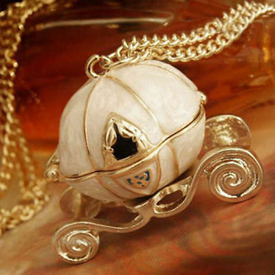 Vintage Antique Golden Cinderella Magic Pumpkin Pendant Chain Necklace Xmas Gift