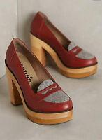 Anthropologie Cubanas Wave Loafer Heels Block Platform Sz 7 38 Wine Red