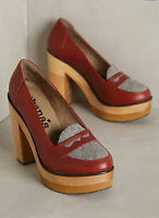 Anthropologie Cubanas Wave Loafer Heels Block Platform Sz 7 38 Wine Red