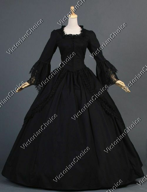 Renaissance Gothic Black Game of Thrones Witch Gown Punk Halloween ...