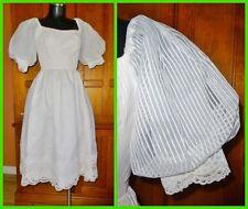 Vtg 70s House of BIANCHI Sheer Organza Scallop Lace BOHO Wedding Tea Party DRESS