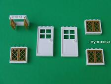 New Lego City Friends Belville Town House 2 Doors and 4 Windows /  Gold Panes