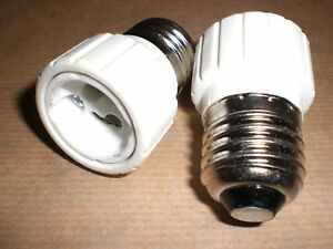 Adaptador GU10 a E27. Apto para Led y halógenos (1 unidad)