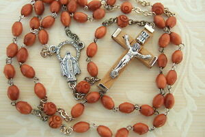 Catholic-Rosary-5mm-GENUINE-BROWN-COCOA-Wood-Beads-Miraculous-medal-NOS
