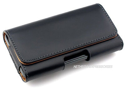 Black Horizontal P-Leather Case Cover Pouch + Holster Belt-Clip for HTC Phones