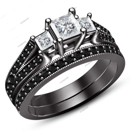 Women/'s 3 Stone Princess Cut White Diamond Black Gold Plated Bridal Ring Set