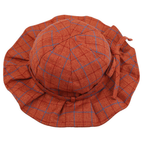 Baby Sun Visor Hats Bow Toddlers Summer Outdoor Comfort Plaid Hat Bucket Cap 6A