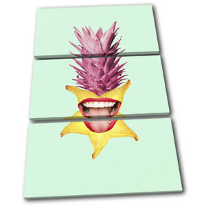 Pineapple-Mouth-Lips-Fruit-Food-Kitchen-TREBLE-CANVAS-WALL-ART-Picture-Print