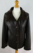 Ladies Libra Brown Faux Leather Jacket with Faux Sheepskin Lining