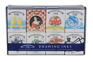 Winsor-amp-Newton-Drawing-Inks-14ml-Set-of-8-Colours-The-Henry-Collection