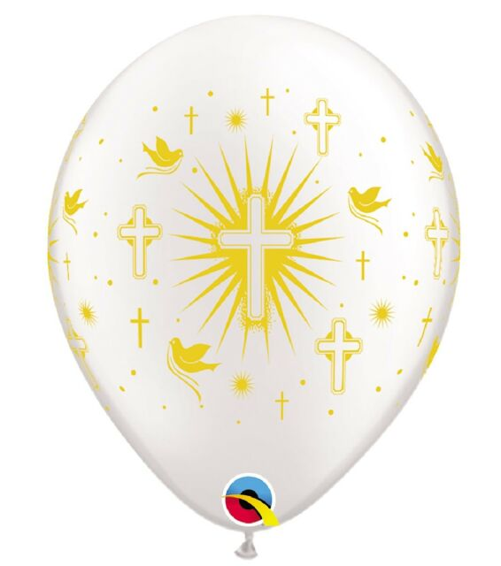 20 White + Gold Cross Helium/Air Balloons Holy Communion Christening Boys Girls