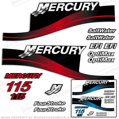 Mercury 115hp Outboard Decal Kit Blau or rot 115 1999-2004 All Models Available