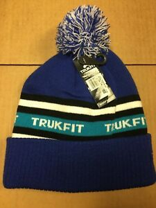 5907465d8a475 Image is loading Trukfit-Beanie-Blue-Green-PomPom-Beanie-Ski-Snowboarding-