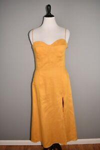 REFORMATION-NEW-218-Nebraska-Linen-High-Slit-Dress-in-Ochre-Size-12