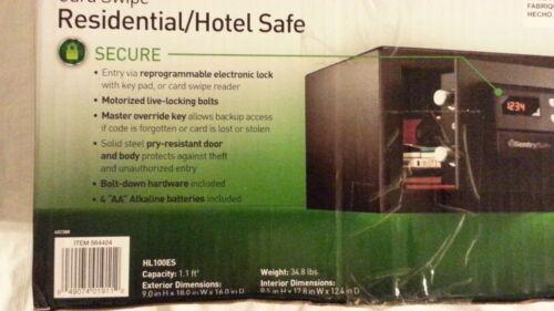 SENTRYSAFE RESIDENTIAL/HOTEL SECURITY Safe w Electronic Entry HL100ES