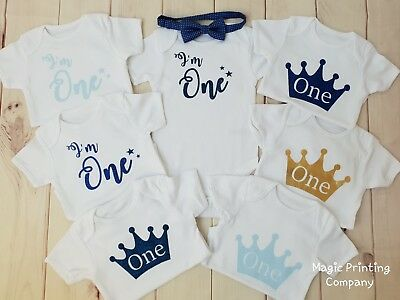 Baby Boys First 1st Birthday Outfit Bodysuit Romper Top Vest Blue Cake Smash