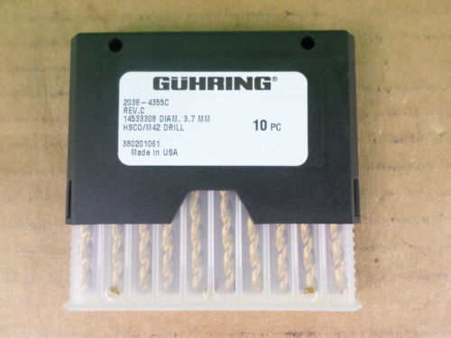 Lot of 10 Guhring 2038-4355C 3.7mm HSCO//M42 Drills