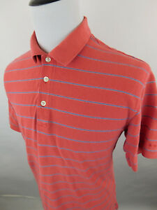 Orvis-Men-039-s-Short-Sleeve-Polo-Golf-Shirt-size-Large-Red-Blue-Stripes-Cotton